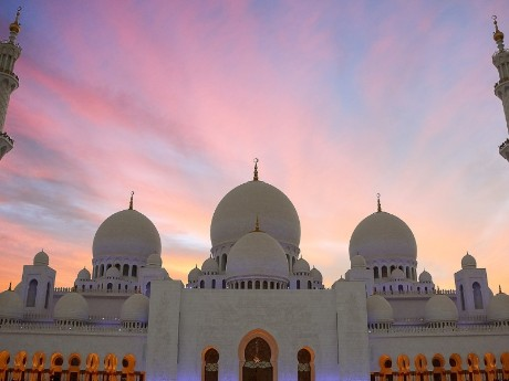 Sheikh Zayed Mosche im Abendrot